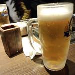 串揚げダイニング あげあげ - 生ビール大 ※1口飲んだあと(2016.01.16)