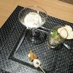 ルシェル - 料理写真:烏賊にカリフラワーのジュレ、うずらの卵にマンボーの腸、生しらすに真珠貝の前菜