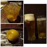 46633001 - ◆梅酒や梅酒のソーダ割り・ビールなどを頂きながら・・                       梅酒には大きな「梅」が入っていますよ。焼酎漬けですので、お酒に弱い方はこれだけで酔うかも・・(^^;)