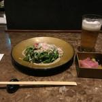 鉄板焼 摩天楼 - ズワイ蟹のサラダ〜自家製の蟹みそソースと共に