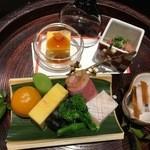 46658586 - 美しい八寸!鯛昆布〆酒盗和え、あん肝豆腐、鰤生寿司、鰊昆布巻きなど。。。美味ですねー!