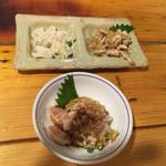 Manten - 白センマイ、ガツ刺し、コブクロ湯引き
