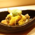 麻布 かどわき - あわび天ぷら、新筍、からすみのせ