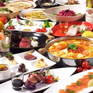 魚介やお肉・野菜料理等豊富な100種の120分食べ飲み放題!