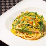 帆立貝柱、イタリア産カラスミのスパゲッティ