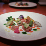 cucina Wada - 2016年1月再訪:海の幸 盛り合わせ(カジキ・いたや貝・えび・真珠貝)☆
