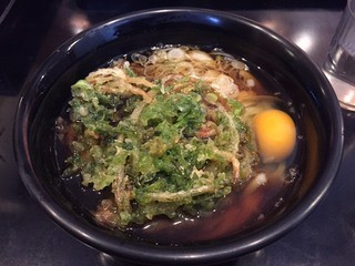 うどん 矢萩 新横浜店 - 生海苔天玉うどん(490円)