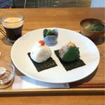 Onigirikafe - モーニングセット 540円             おにぎり2個、小鉢、お味噌汁、ドリンク