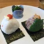 Onigirikafe - モーニングセット 540円             おにぎり2個、お味噌汁、小鉢、ドリンク