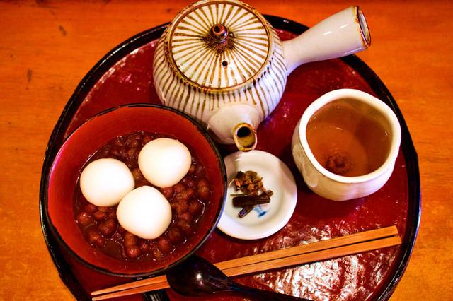 甘処 あかね - 煮あずきほうじ茶セット
