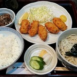 46712370 - かやば町 長寿庵 @茅場町 カキフライ定食 1,200円(税込)