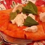 46732076 - Primo(パスタ、リゾット)の一皿目は「糸島産サンマルツァーノトマトとリコッタのパッケリ」です。