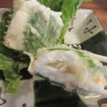舟蕎山 - クリームチーズを挟み、大葉で巻いてある