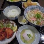 讃岐うどん わ - 鶏の唐揚げうどん定食700円(2016)
