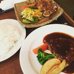 牛亭 - 料理写真:牛亭ランチA「ハンバーグ+ポーク炭火焼」