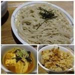46768172 - *豆腐の煮込み(唐辛子タップリで辛いそうです)・鶏の炊き込みご飯(甘めのお味付だとか)                       小鉢やご飯は日替わりのようですよ。