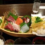 Gyoshoutakaaki - 舟盛りランチ(2016年1月3日 隆明北野坂本店)