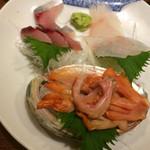 忠助 - お刺身  関サバ、真鯛、赤貝