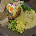 46796699 - Wカレー(チキンキーマ・小芋と白菜のホワイトカレー)