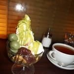 和カフェ yusoshi - [料理] 抹茶ココナッツパフェ & 紅茶 \1,290 セット全景♪w ①