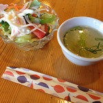 レストランれむの巣 - ビーフシチューセットについてくるサラダとスープ