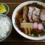 食堂ヒラグシ - チャーシューメン650円・ライス中150円 計800円