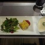極 goku - 左からグリーンサラダ、キッシュ(トルタサラータ?)、ポタージュスープ