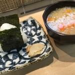 三代目 まる天 - おにぎり(梅)+ 味噌汁