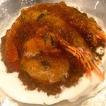 キュル・ド・サック - 看板料理!三陸産ホタテ、北海産生ウニ、赤エビのコンソメゼリーがけ