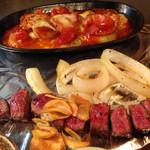 たるや鉄板焼 - 和牛サイコロ・ポテトチリトマト