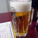 徳多郎 - 「生ビール」オープン記念で1杯サービスっ。