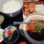 えんざ - えんざの定食「夏野菜カレー、若鶏の唐揚げ」