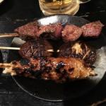 野豚 - レバ塩+椎茸タレ+つくねタレ