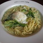 山根屋 - 緑野菜たっぷりグリーンカルボナーラ~バジル風味~980円♪