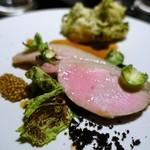 ピルエット - 茨城県産梅山豚のロースのロティ  タスマニア産マスタード  菜の花とジャガイモのグラタン