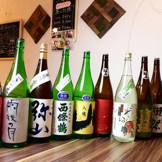 こだわりの日本酒とワインの数々