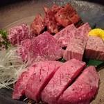 飛騨牛専門 華家 - 焼物 飛騨牛 肉盛り 塩(サーロイン、イチボ、ヒレ、トウガラシ、牛タン)