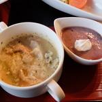 いやしの里 - スープとデザート(ビーフハンバーグシチューセット)