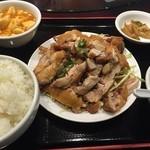 46965888 - 揚げ鶏の香味ソースかけ定食(ライス•小鉢•スープ•ザーサイはおかわり自由)800円