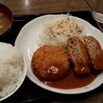 南蛮食堂 - ジューシーメンチカツ定食680円+自家製タルタルソース100円