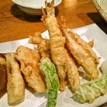 魚金 - わかさぎとたけのこの天ぷら