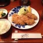 ぽん多本家 - カキフライ(2,700円)&ご飯、赤だし、おしんこ(540円)