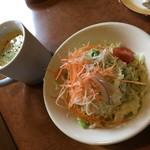 レストラン パリアッチみき - セットのサラダとポタージュ
