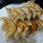 47048310 - 焼焼定食の餃子、手前が石松餃子、奥が肉餃子