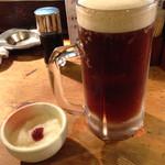 串焼 文福 - 黒生ホッピー。氷で誤魔化さないこの量。