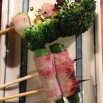 串焼 文福 - オクラベーコン ブロッコリー 塩