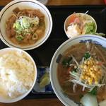 三幸軒 - もつ煮定食¥720味噌ラーメン付