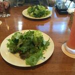 47084672 - ランチセットのサラダとグレープフルーツジュース(手前)、アップルジュース(奥)