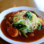 47096667 - チキンナゲットと小松菜のあんかけスパ(ランチ)