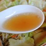 ラーメン富んや - 富んや・野菜ラーメン・醤油 スープ(2015.02)